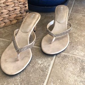 Rhinestone champagne kitten heel shoes 8